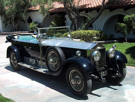 Front right black and blue 1927 Rolls-Royce Phantom I Car Picture